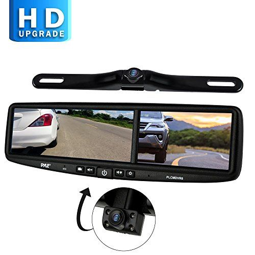 Pyle Hd Vehicle Backup Camera System Dvr Dual Camera Rearview Mirror Video Recording Waterproof Night Visio Rear View Mirror Camera Backup Camera Mirror Video