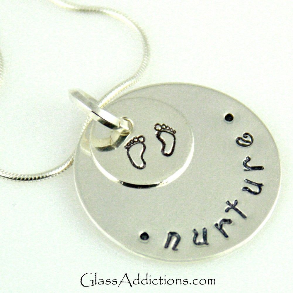 Hand Stamped Nurture Pendant donation to March of Dimes. $46.00, via Etsy.