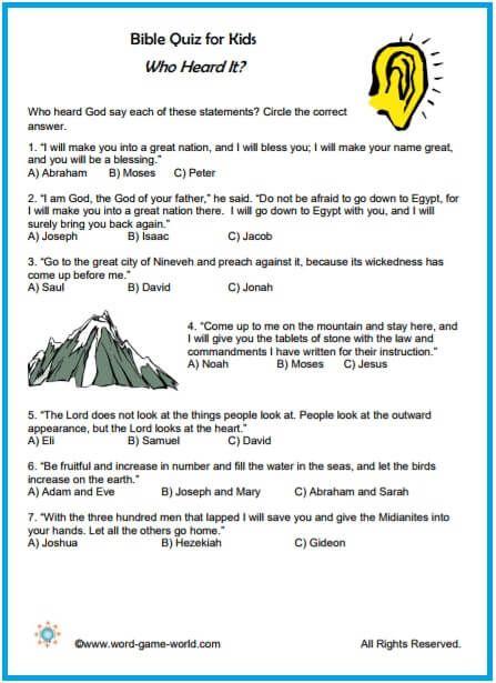 Fun Bible Quiz for Kids Pinterest Bible quiz