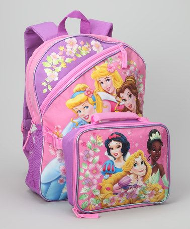 ac3beb130a89 Take a look at this Pink & Purple Princesses Backpack & Lunch Case ...