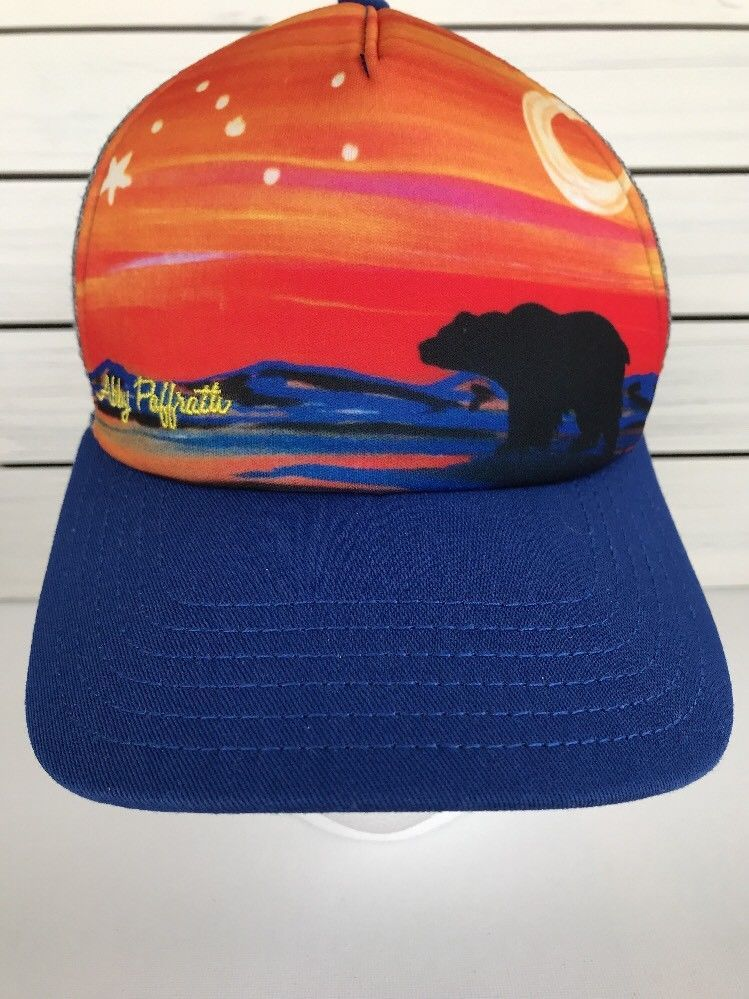 Abby Paffrath Mountian Bear Moon Sky Stars Blue Orange Trucker Hat Cap  SnapBack  ArtbyAbbyPaffrath   24e82d47683