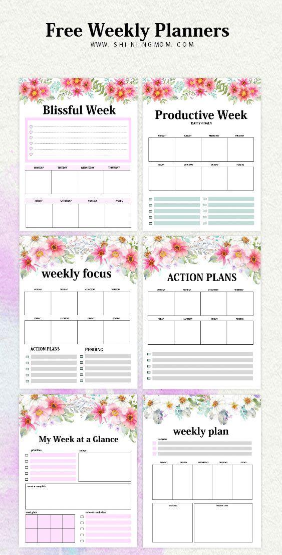 Free Weekly Planner Templates 15 Beautiful Designs! Weekly