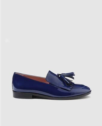 84b29683 Mocasines de mujer Castellano de charol azul con adorno | Zapatos en ...