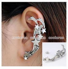 Silver Flash Meteor Stars Left Ear Cuff Crystal Stud Earring Piercing Pick 1PC