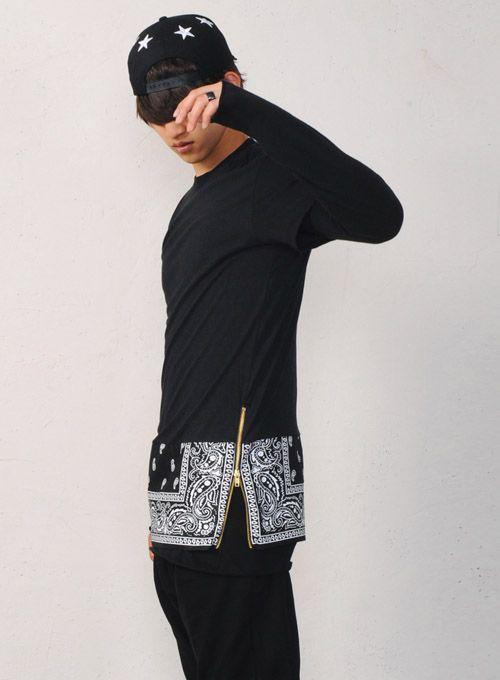 Men Bandana Paisley Print Extended Long Zip T-shirt at Fabrixquare