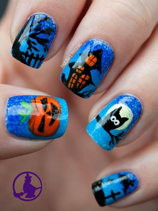 #halloween blue scenic #nails #notd