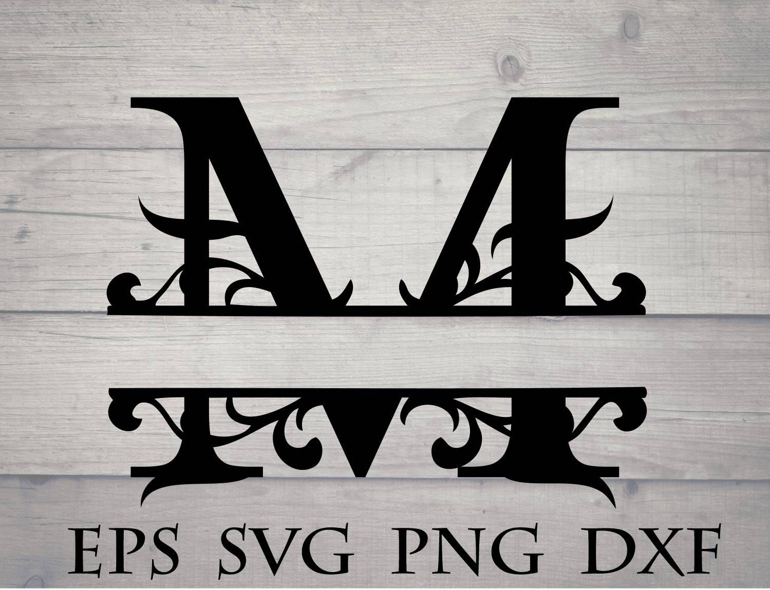 Split initial svg split letter M monogram svg split