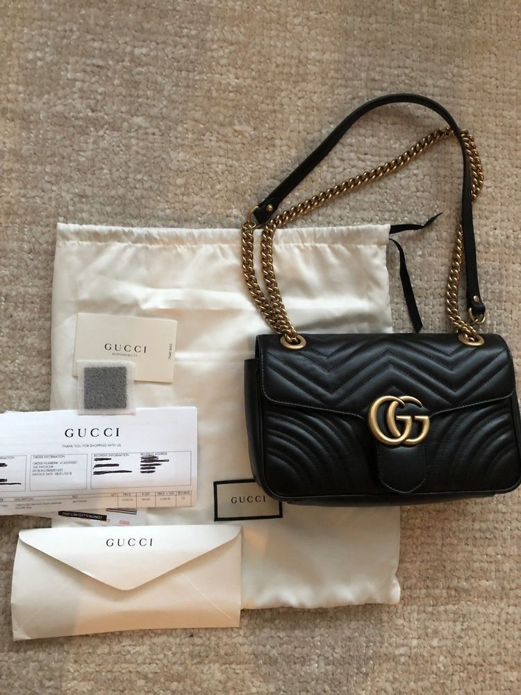 d82ce2f94d3 GUCCI MARMONT BAG AUTHENTIC SMALL QUILTED LEATHER BLACK NEW  fashion   clothing  shoes