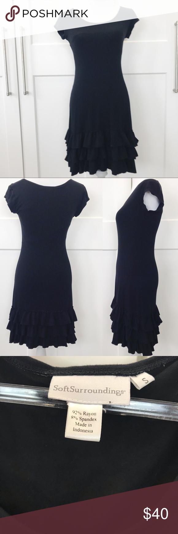 Soft Surroundings Black Dress W Ruffle Bottom Soft Surroundings Dresses Clothes Design Black Dress [ 1740 x 580 Pixel ]