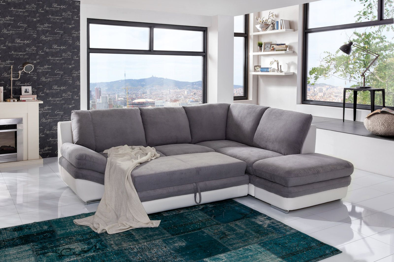 Polsterecke Grau Weiss Liegefunktion Staukasten Recamiere Rechts Couch Mobel Polsterecke Und Ecksofas
