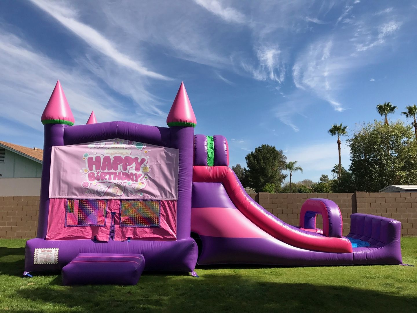awesome pink purple happy birthday combo bounce house slide with