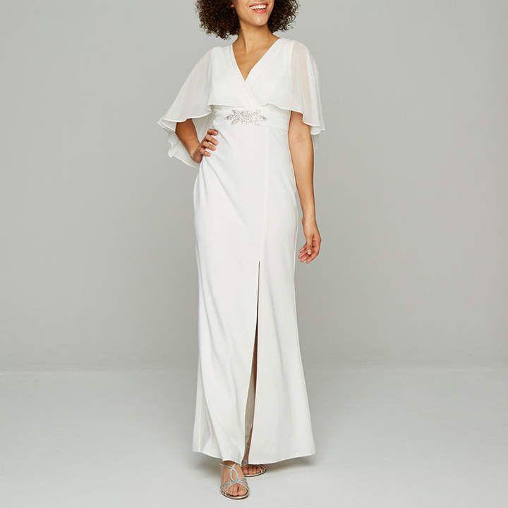 BLU SAGE Blu Sage Sleeveless Embellished Cape Bridal Gown