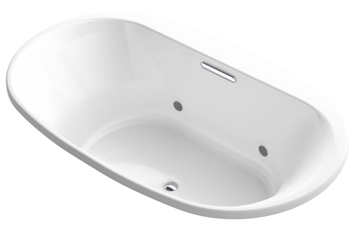 "Kohler K-5718-GVBCW Underscore 72"" Drop-In BubbleMassage Air Bathtub with Center White Tub Air Drop-In"