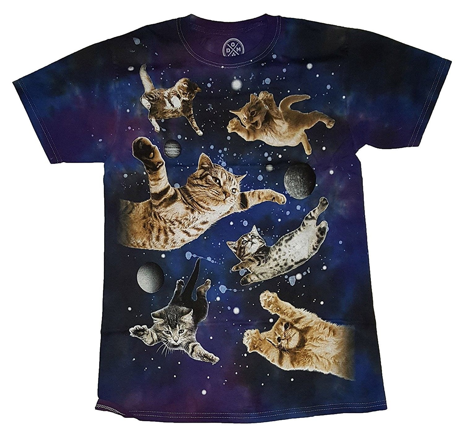 Kitty Cats In Space Galaxy Graphic T Shirt Cp12nfdkn31 Graphic Tshirt Tshirt Designs Cat Shirts