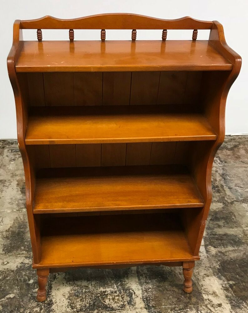 Vintage Solid Maple Wood Bookcase Book Case Cabinet Shelves Lane Tell City Affilink Bookcase Bookshelf Wood Bookcase Maple Wood Bookcase