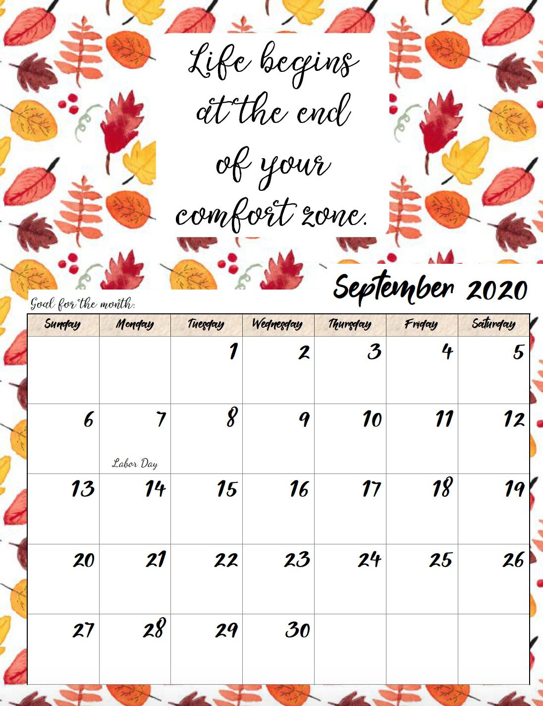 Free Printable 2020 Monthly Motivational Calendars With Images