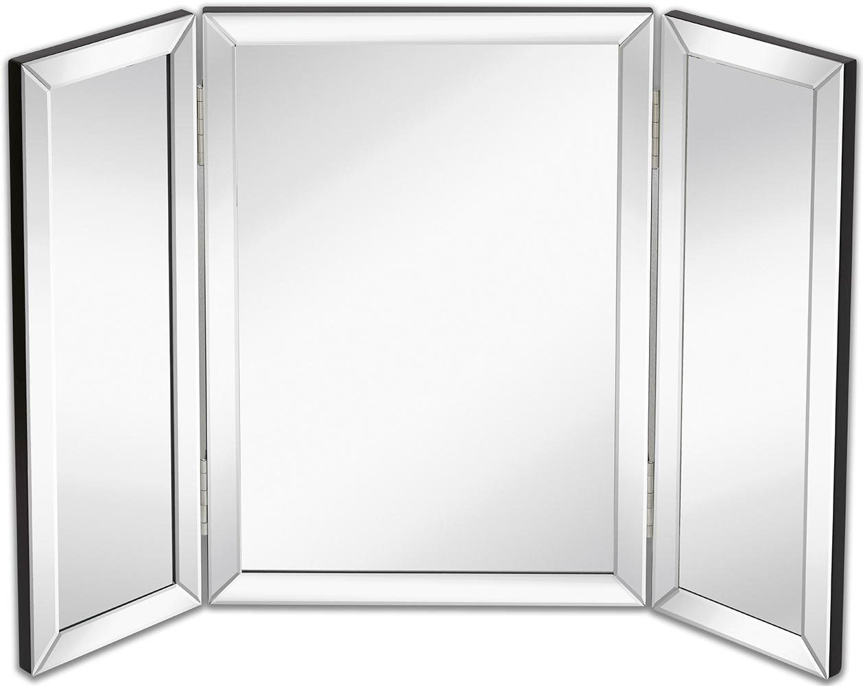 Hamilton Hills Trifold Vanity Mirror | Solid Hinged Sided Tri-fold Beveled Mirrored Edges | 3 Way Hangable on Wall or Tabletop Cosmetic & Makeup Mirror