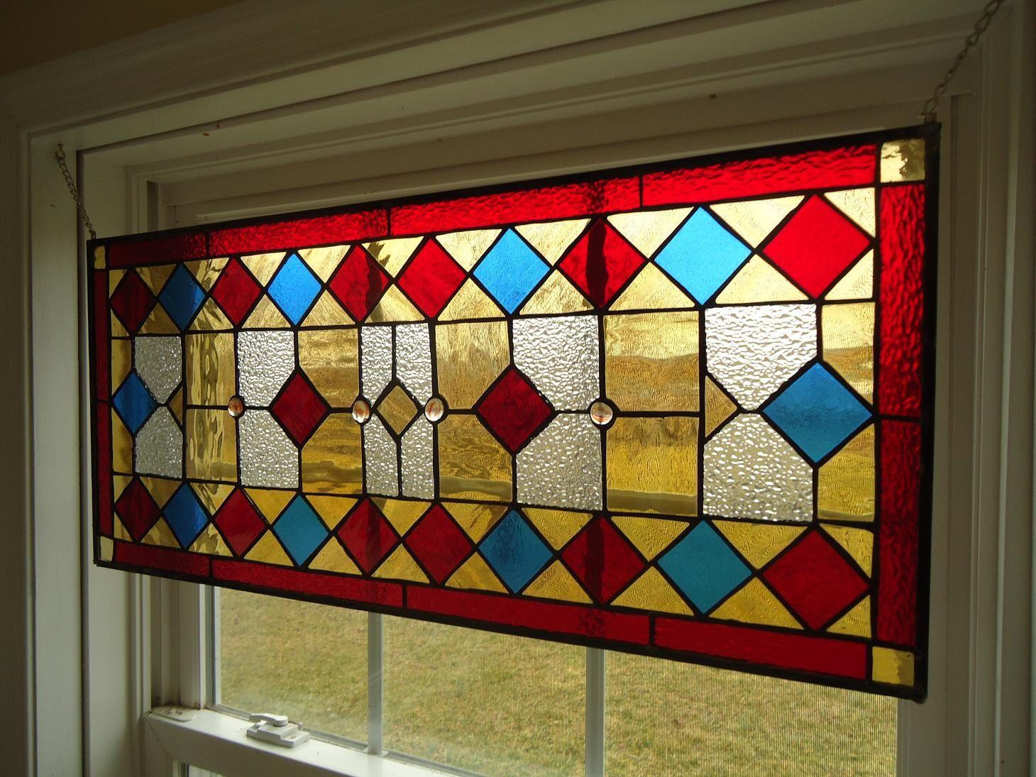 Stained Glass Transom Window Suncatcher Panel Valance 30\