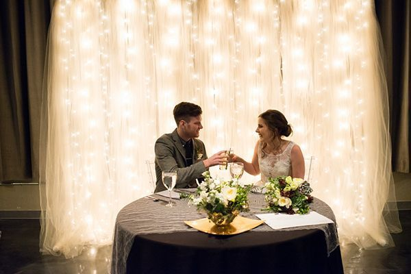 Tulle String Lights Sweetheart Table Background