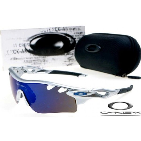 blue and silver oakley sunglasses  $13 cheap oakley free shipping radarlock path sunglasses silver / blue iridium