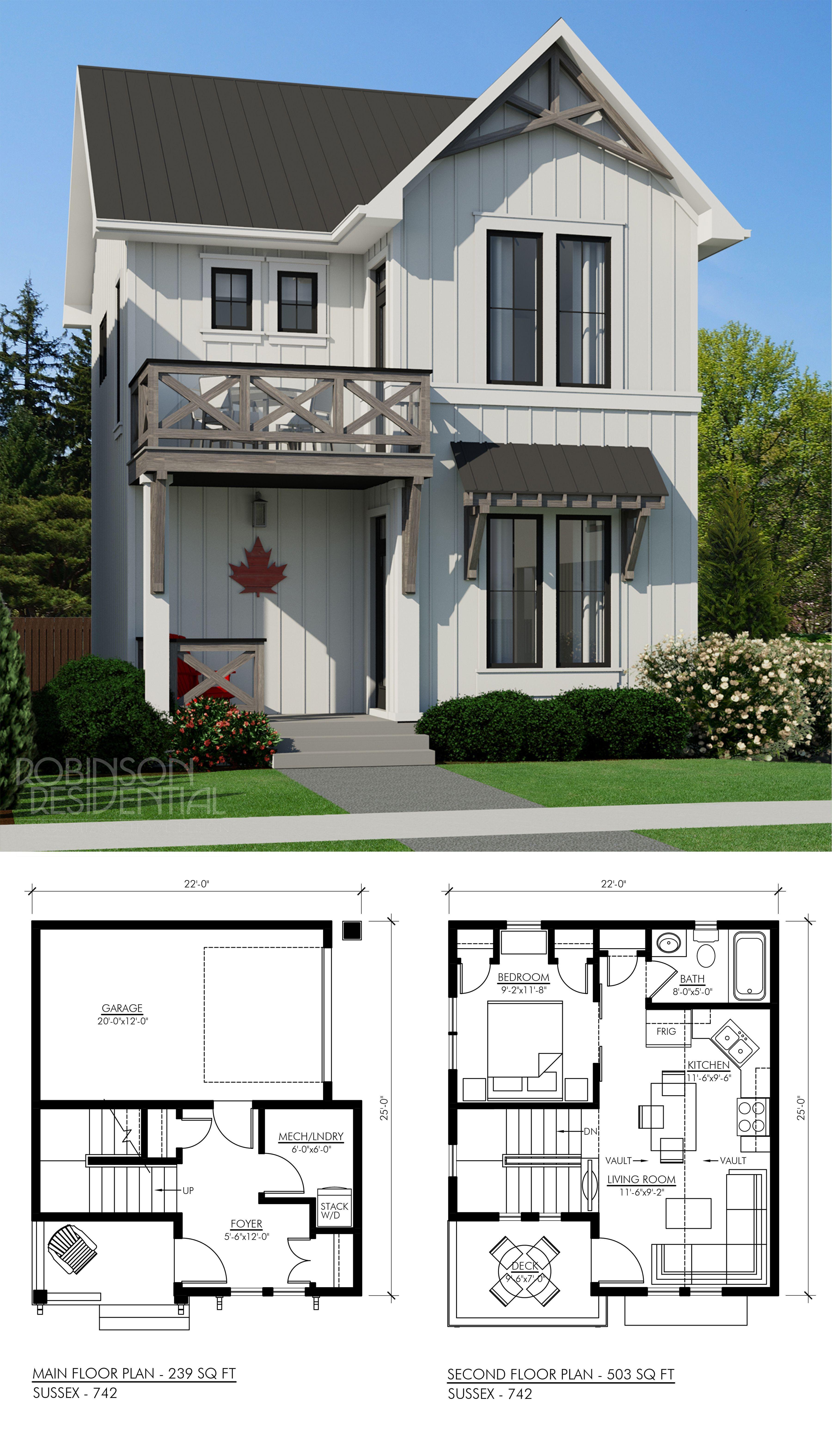 Modernes Bauernhaus Sussex 742 Garage In 2020 Small House Plans House Plans Modern Farmhouse