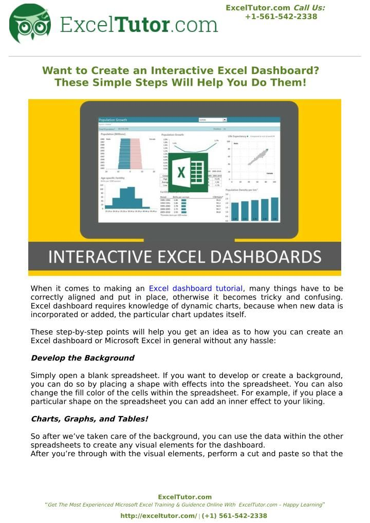 Learn how to create interactive Excel Dashboards in one hour No - how to create a spreadsheet