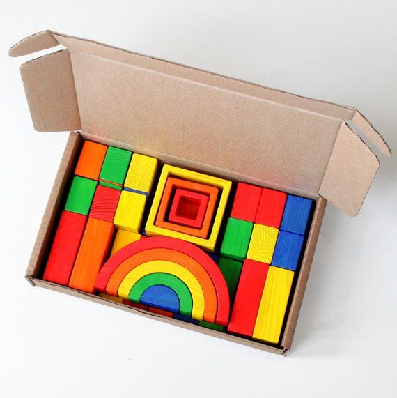35 Multi-colored cubes Building blocks Waldorf toys Wooden toy Rainbow blocks Toddler gift Montessori Baby toy Educational Eco friendly toys