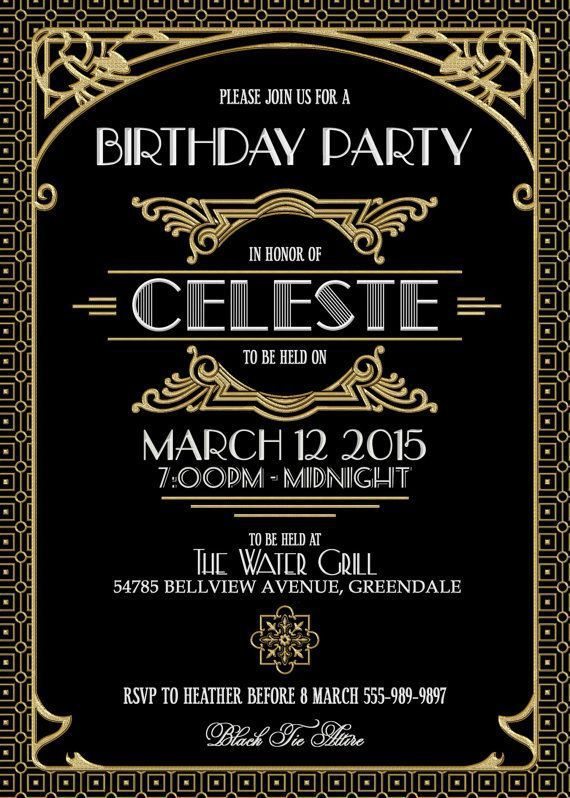 Gatsby Party Invites 25th Birthday Ideas In 2019 Gatsby Party
