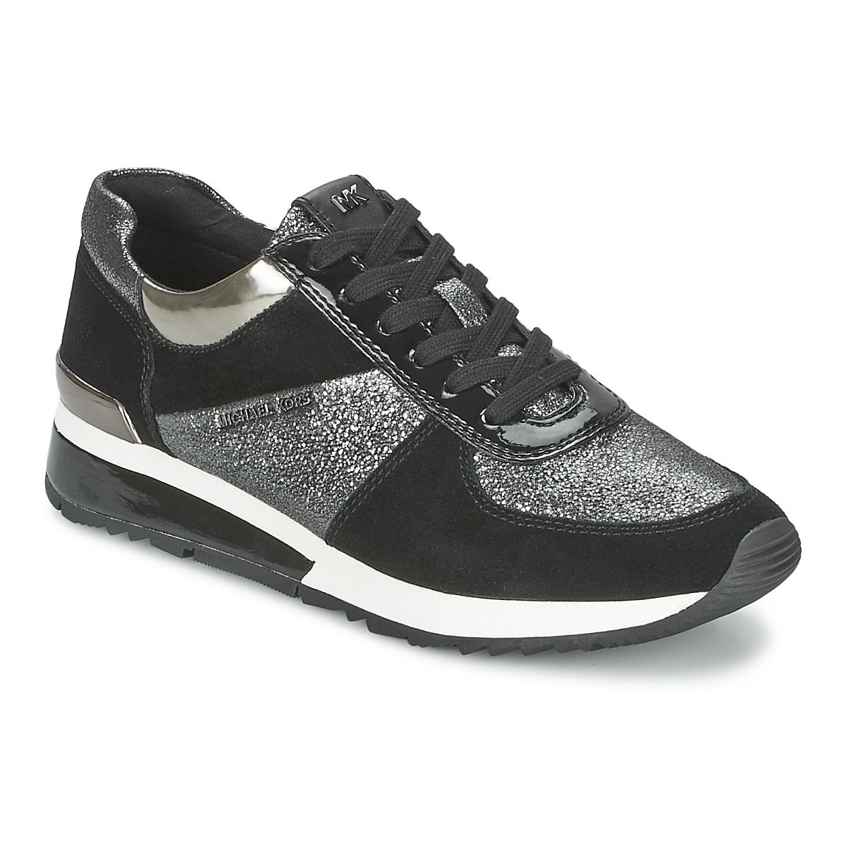 baskets basses michael michael kors allie wrap trainer noir argent prix promo baskets femme