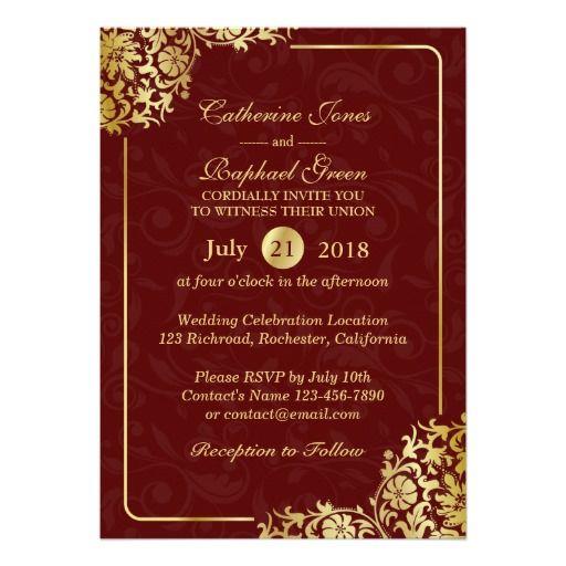 Luxury Floral Gold Lace RSVP Wedding Invitation
