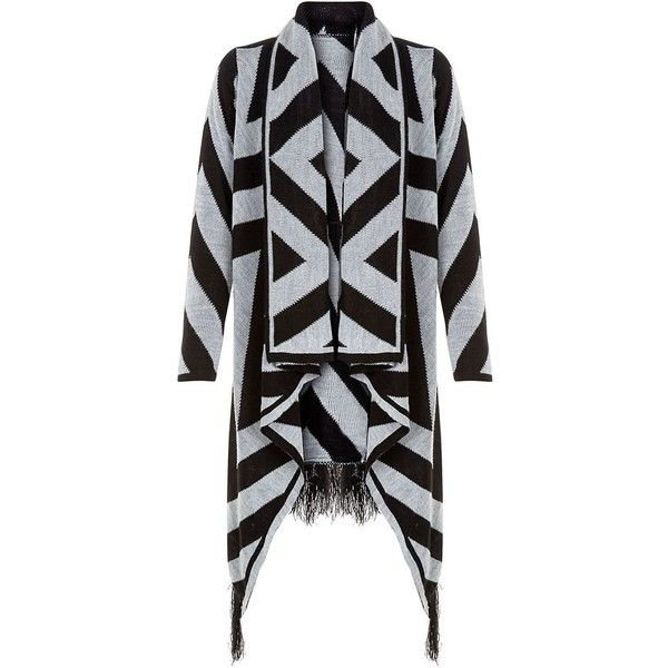 Mela Black Aztec Fringe Waterfall Cardigan ( 38) ❤ liked on Polyvore  featuring tops 8cfca5b2f