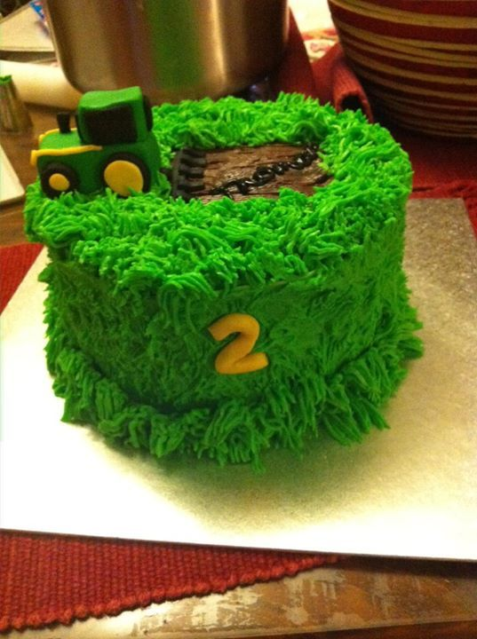 tractor cake. It would be neat to do this with straw color to make it look like a round bale and set a tractor on top