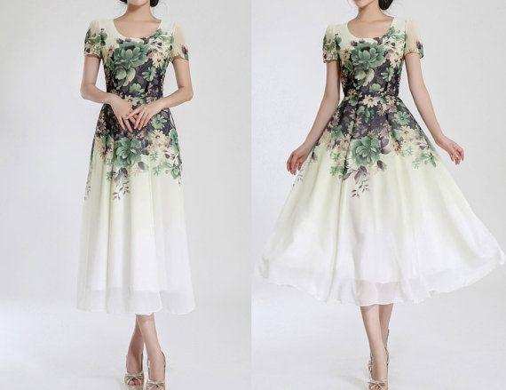 Xs3xl blanc mousseline impression maxi robe mariage par for Robes de mariage maxi uk