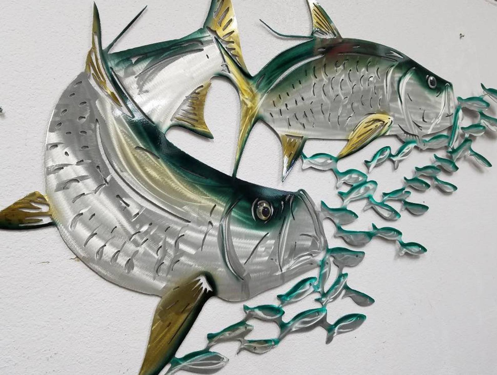 Aluminum tarpon metal fish wall art tropical decor with