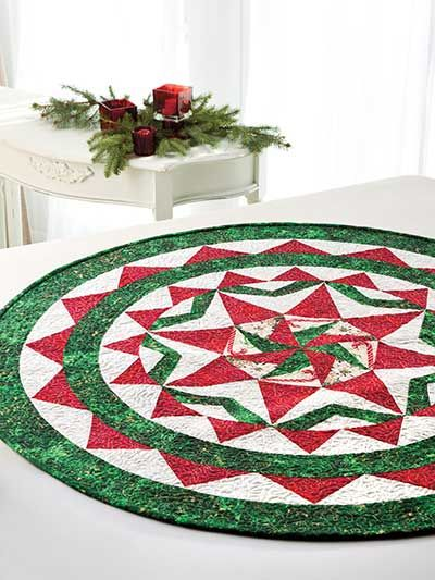 Christmas Winter Quilt Patterns Christmas In The Round Table Topper Pattern Table Topper Patterns Quilted Table Toppers Table Quilts