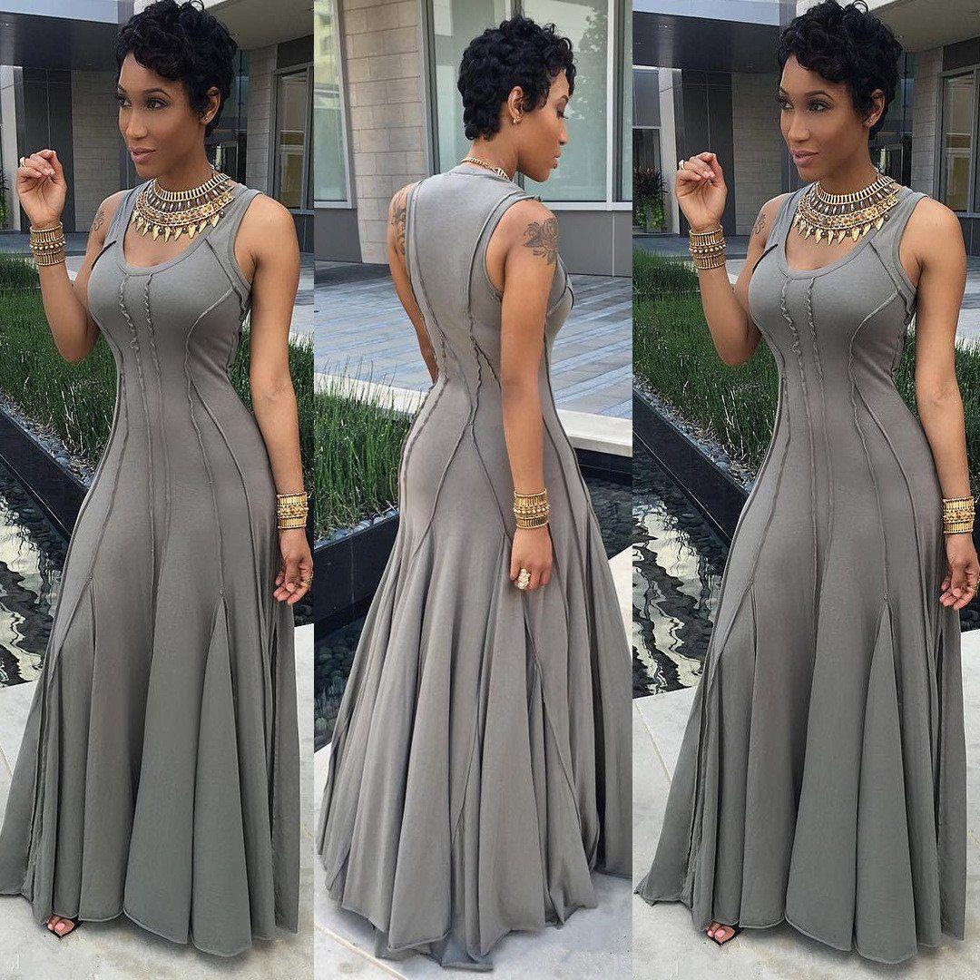 Scoop Sleeveless Solid High-waist Pleated Long Dress ...