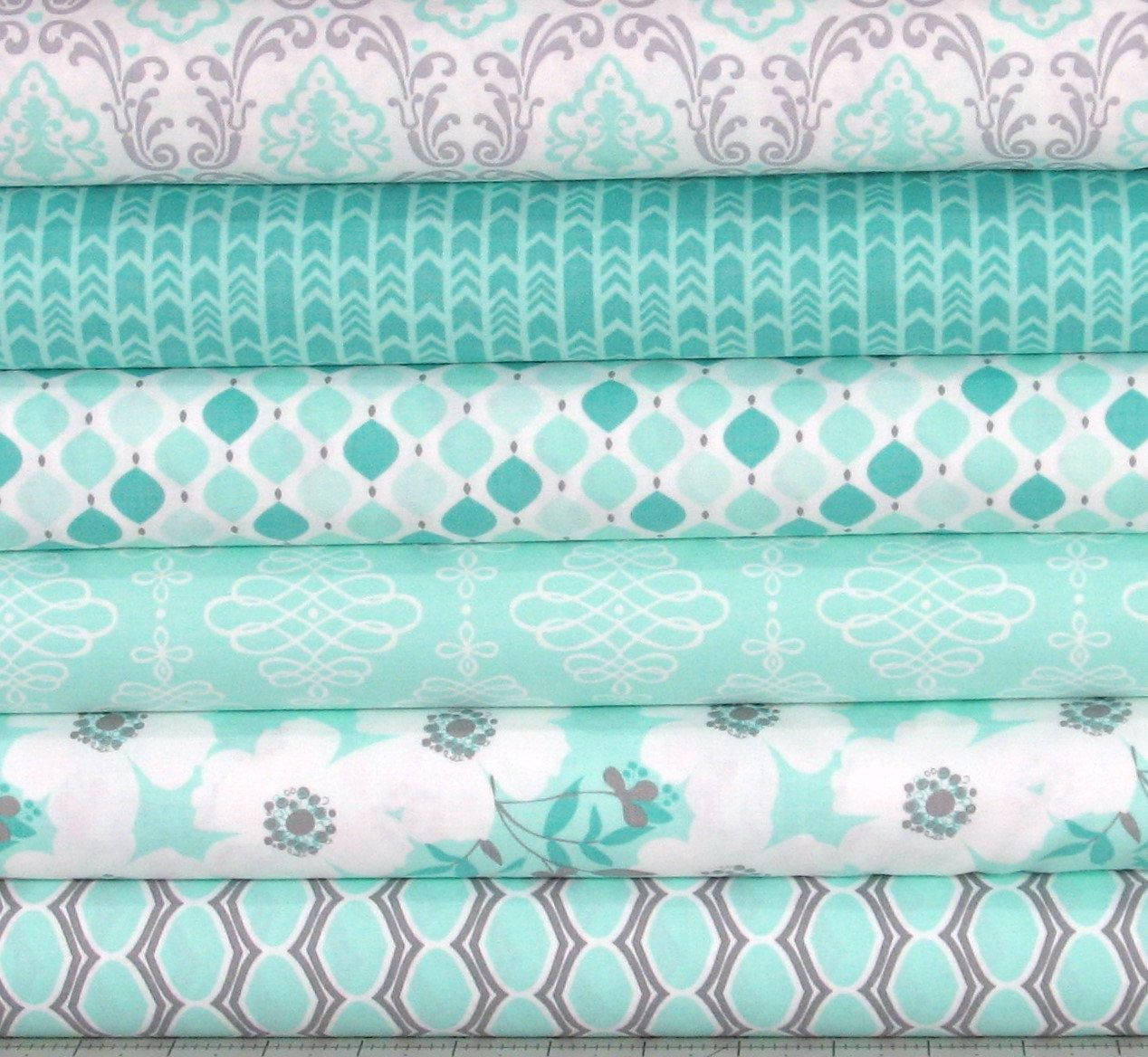 Mint Green, White and Gray Cotton Quilt Fabric Bundle ... - photo#32
