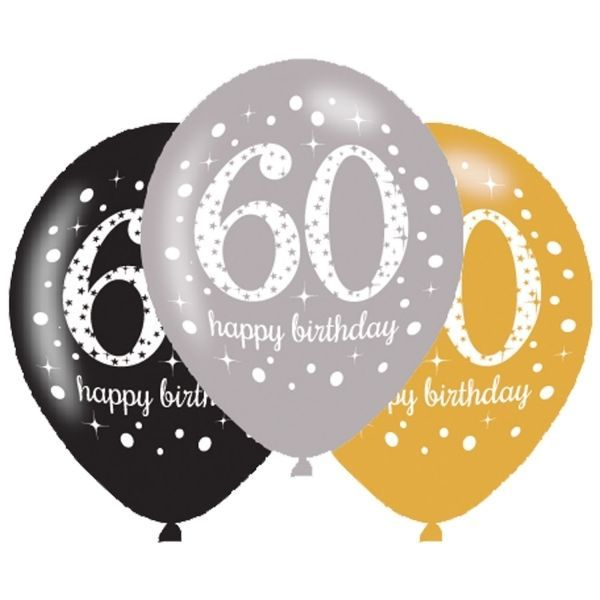Happy 60th Birthday 6 Balloons Gold Silver Black Party Decorations
