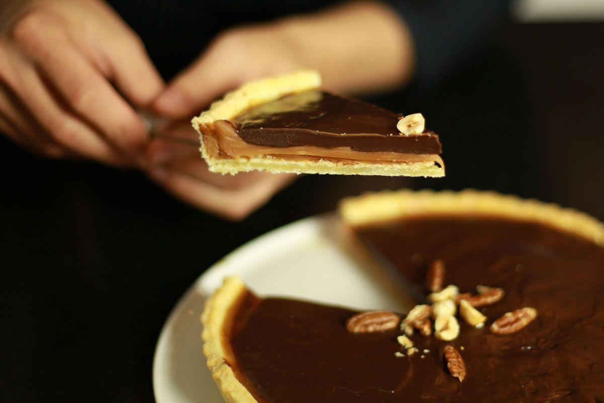 recette facile de la tarte au chocolat et caramel au. Black Bedroom Furniture Sets. Home Design Ideas
