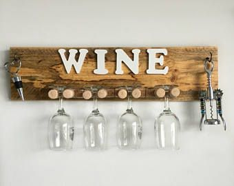 Rustic Wine Glass Holder With Hooks Reclaimed Wood Wall Mounted
