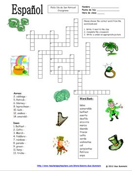 Spanish st patricks day crossword puzzle and vocabulary ids spanish st patricks day crossword and vocabulary ids by sue summers 16 clues with m4hsunfo