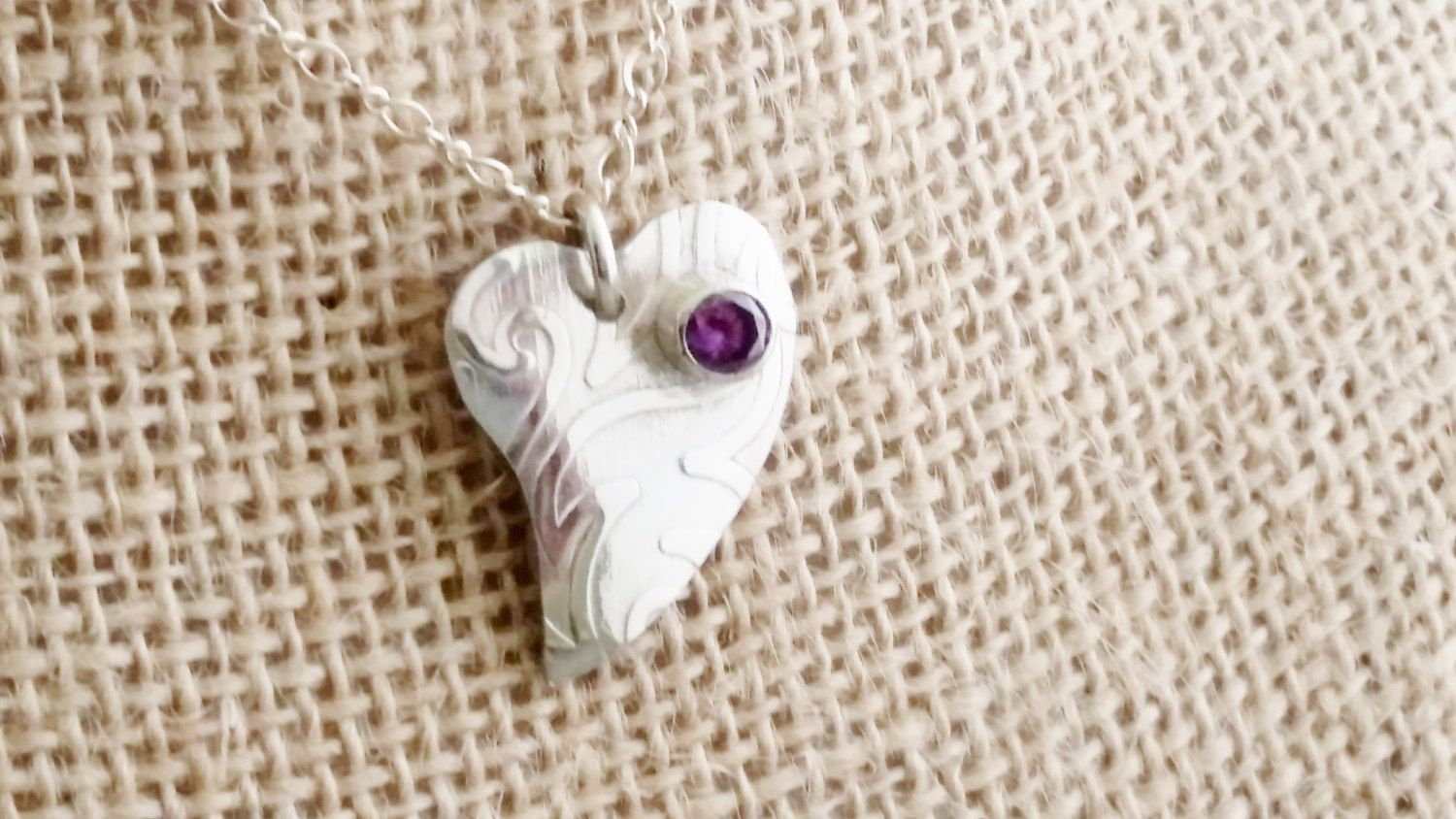 Argentium Silver and Amethyst Heart Pendant by DKHandcraftedJewelry on Etsy