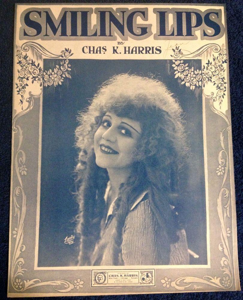 Smiling Lips 1919 sheet music silent star movie Charles k. Harris 20s girl photo