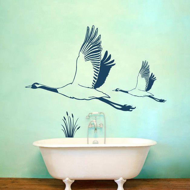 Wandtattoo Wandaufkleber Kraniche Vögel M1431 Pinterest - Wandtattoos Fürs Badezimmer