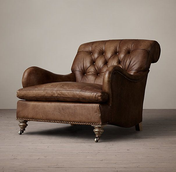 restoration hardware carlton leather club chair in molasses - Leather Club Chairs