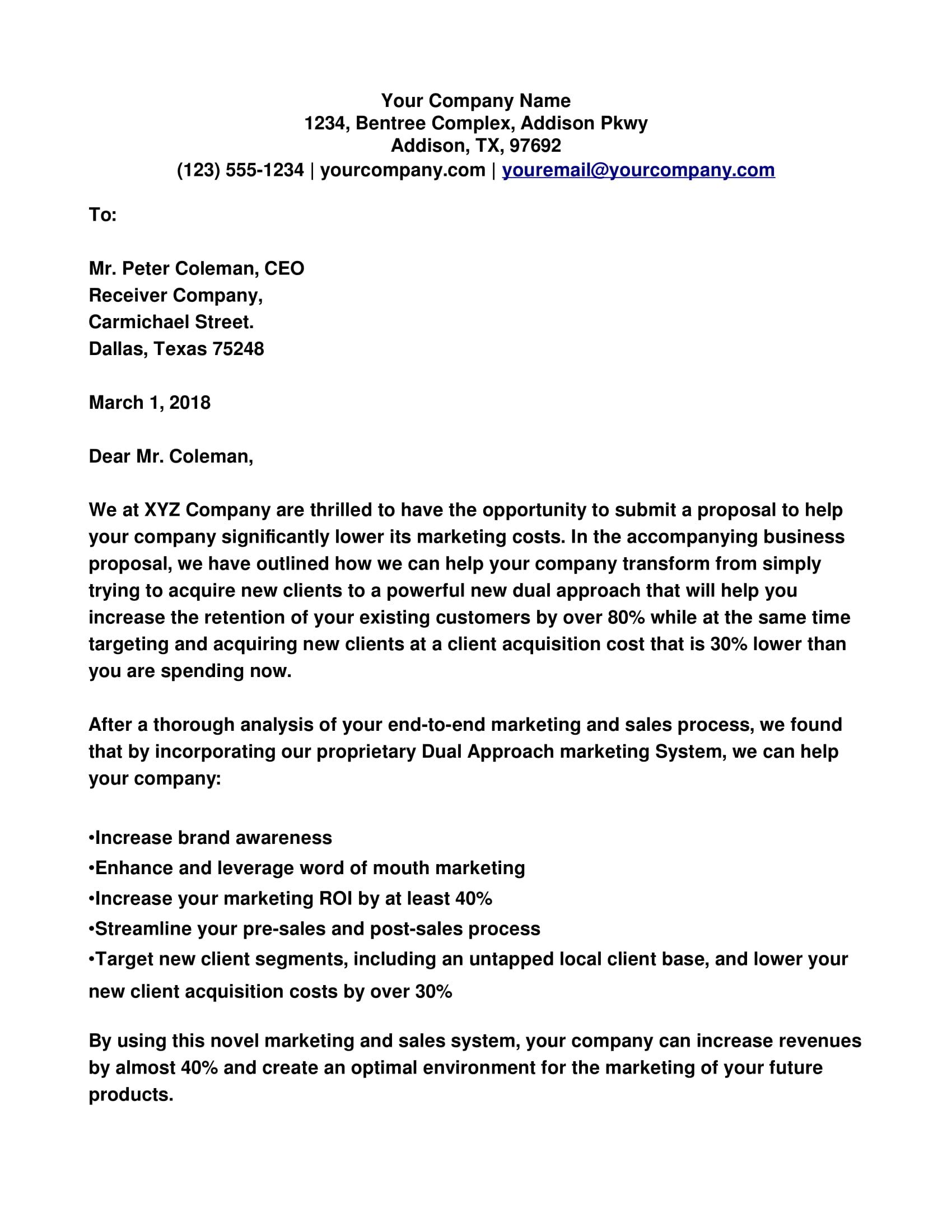 approach letter for business