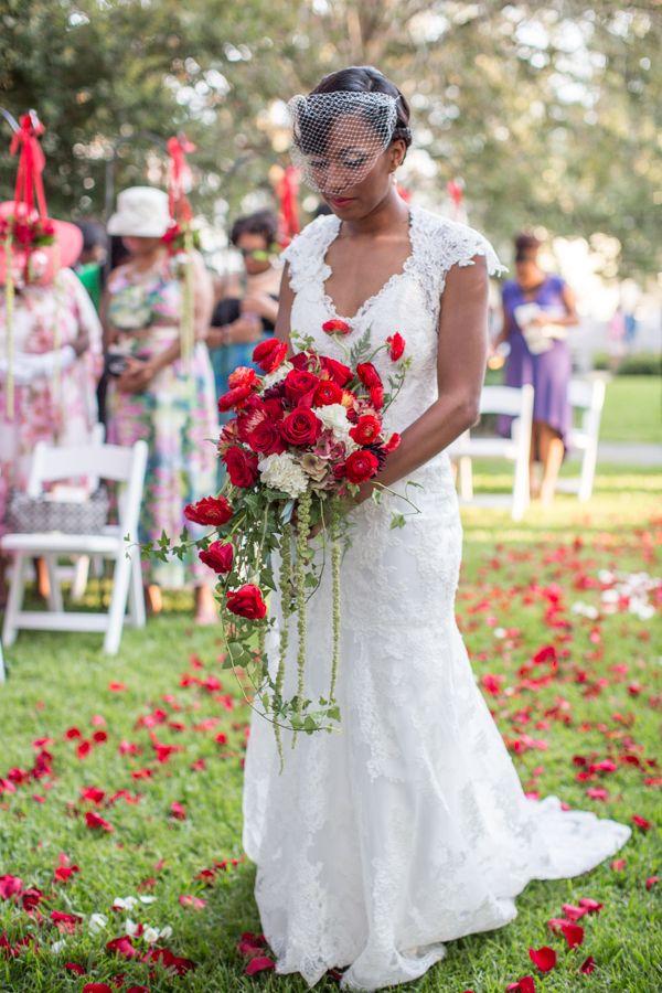Vintage Wedding with Red and Gold Color Scheme by Lyndi J. Photography:Tiffani and Stefon - Munaluchi Bridal Magazine