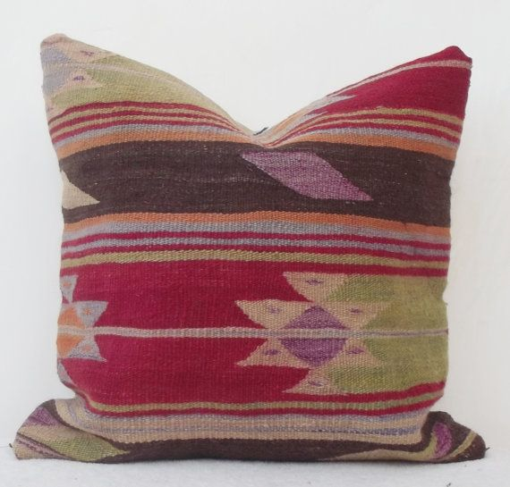 Vintage Turkish Kilim Pillow Cover Decorative Red by Sheepsroad, $58.00