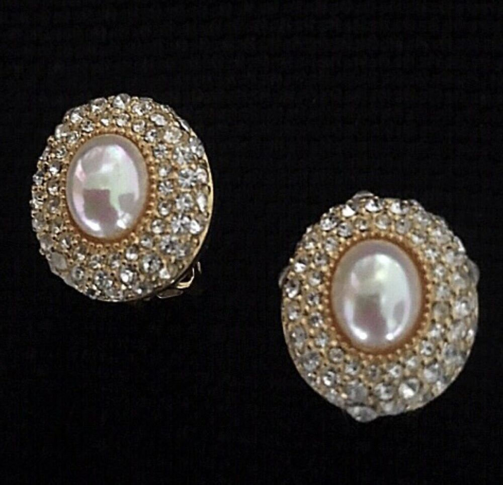 Vintage Faux Pearldiamond Necklace and Earings