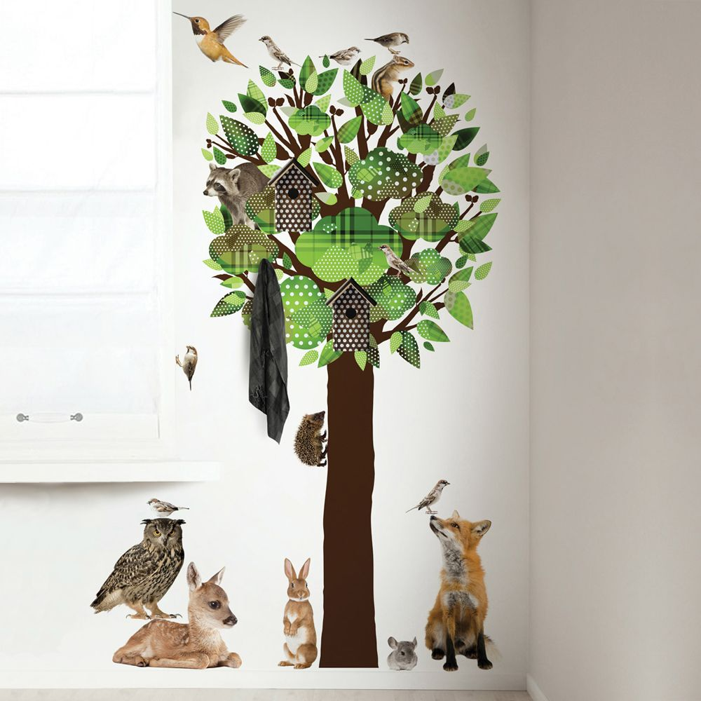 Wandtattoo Baum & Waldtiere grün 200cm | Pinterest | Wandtattoo baum ...